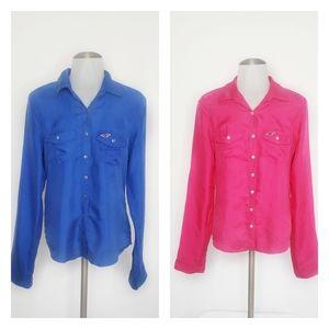 NEW   Hollister   Bundle of 2 100% Silk Shirt